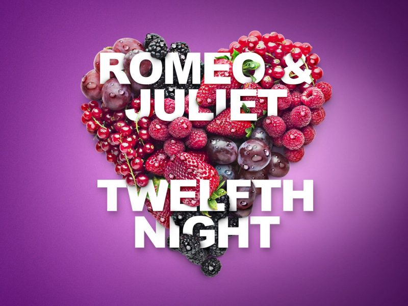 Romeo and Juliet and Twelfth Night over heart of fruit