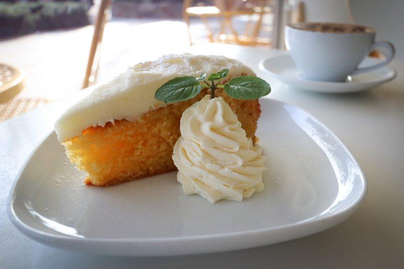 Slice of cake and coffee