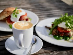 Coffee and breakfast items