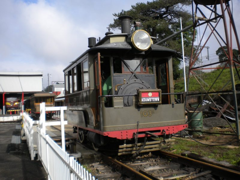 Steam Tram from late 1900s awaiting passengers