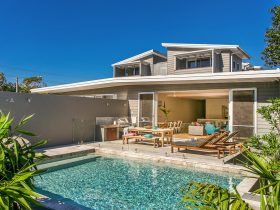 the beautiful home with the shimmering pool
