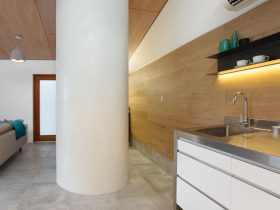 Hand rendered wall creates a beautiful curved shower