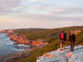 Ian and Tara Wells enjoying Royal National Park Coastal Walk at dawn