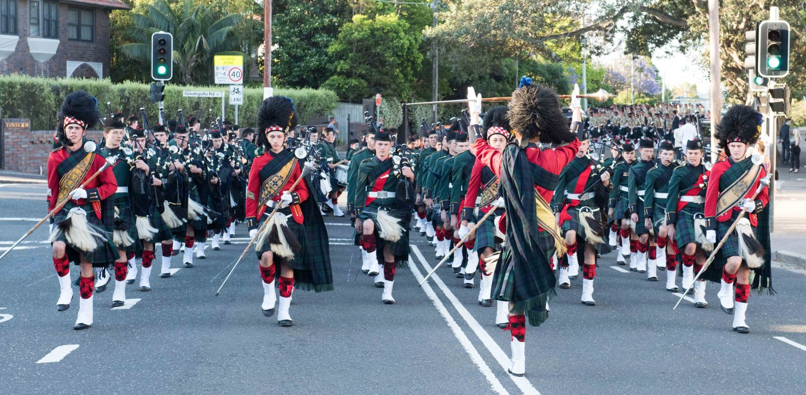The Scots College Pipes and Drums, crossing the Victoria Road, Bellevue Hill.