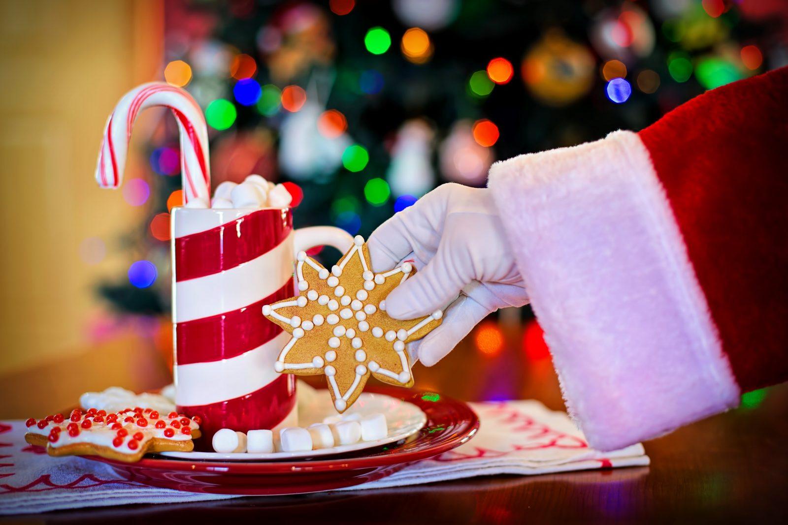 Santa's hand holding cookie