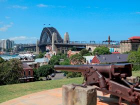 View of Harbour Bridge from Observatory Hill with canon in foreground