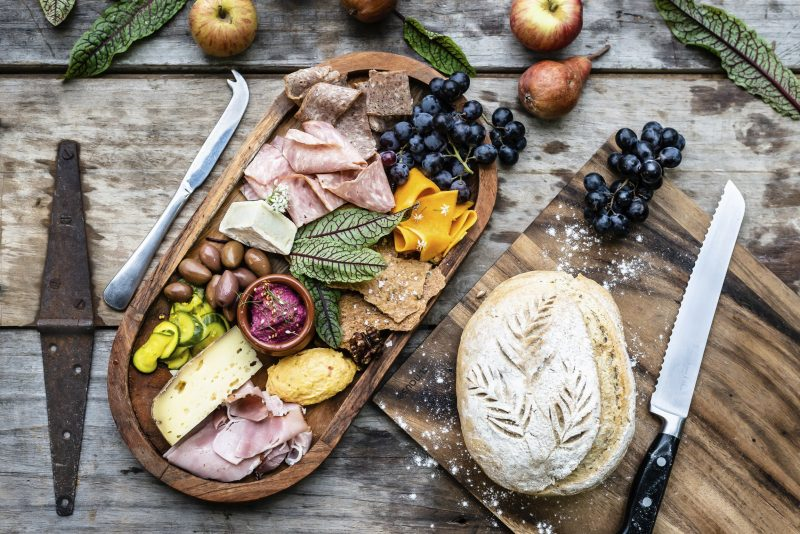 A local produce feast featuring Second Mouse Cheeses & Badlands Brewery Beer Crackers.