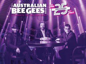 Three men dressed as the Bee Gees