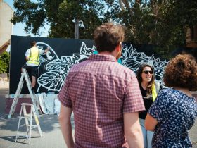 Festival viewers watch artist Olas One painting a mural for Big Picture Fest Newcastle