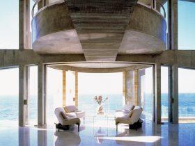 the open plan second floor with ocean panoramas