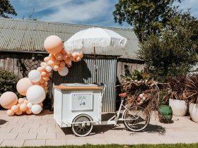 The Gelato bike with our white umbrella.