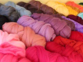 Australian Superfine Merino tops, dyed ready to spin or felt.