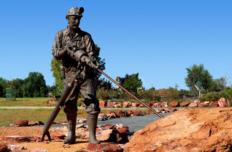 Detail of Cobar Miners Memorial, a bronze sculpture of a miner