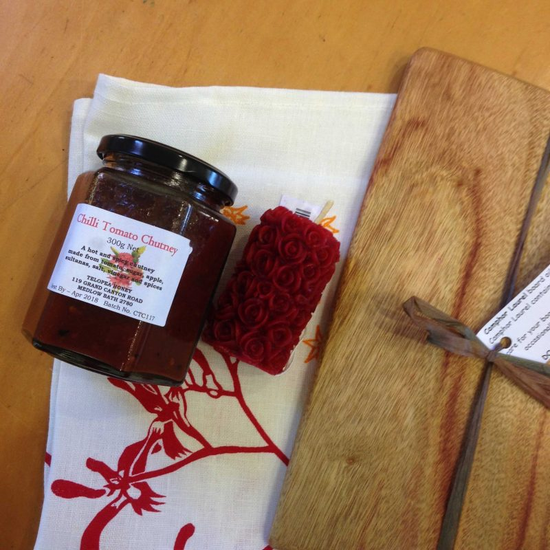 Pantry goodies: Homemade jams, candles,linen and cheese boards.