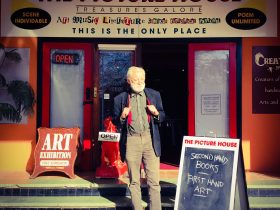 Max Cullen outside The Picture House Gallery & Bookshop