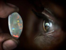 Opal next to an open eye