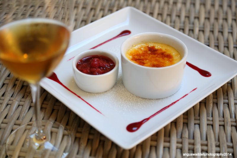 Creme Brûlée with Rhubarb and Raspberry Compote