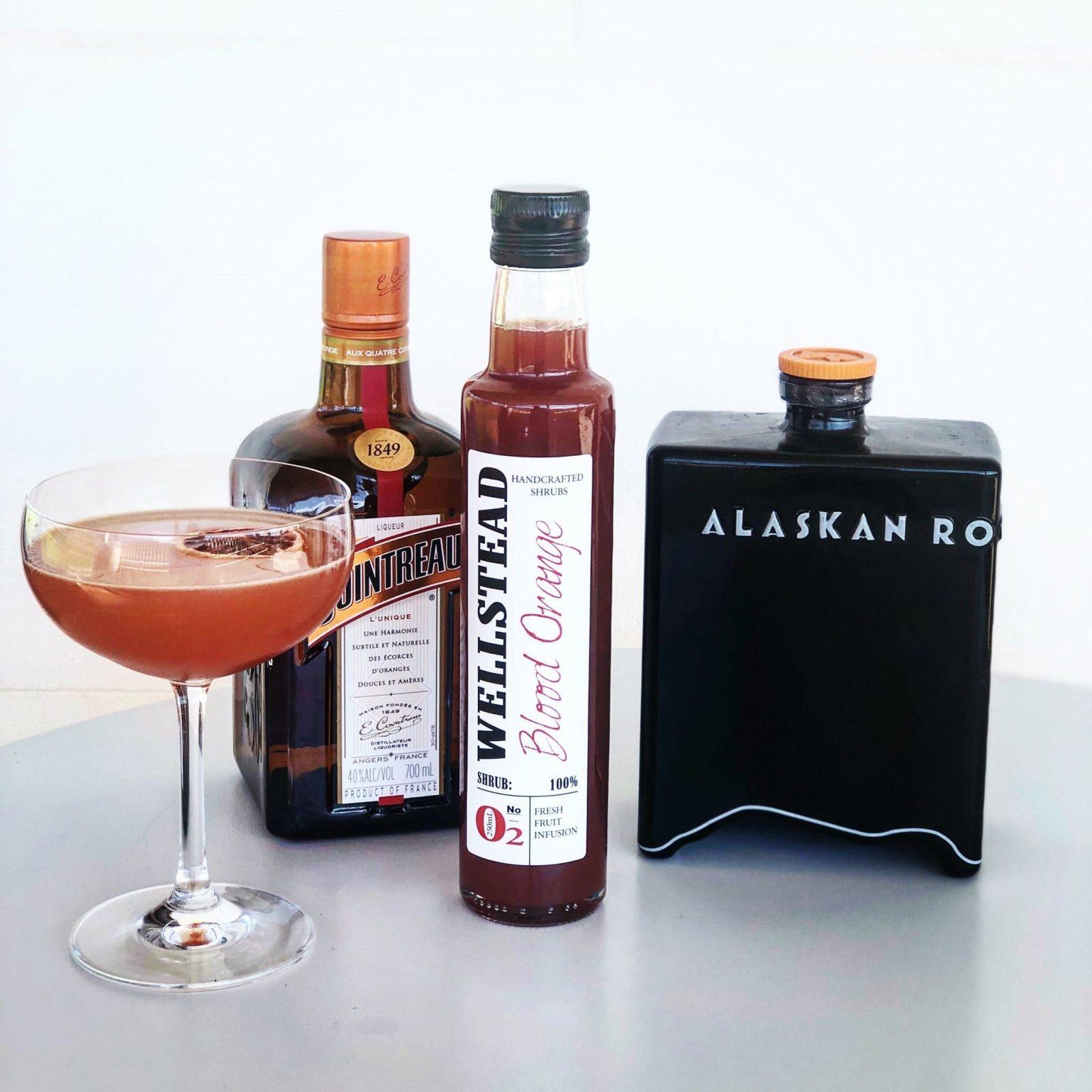 20ml Blood Orange Shrub, 30ml Vodka, 5ml Cointreau topped with Bubbles or Soda