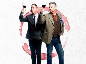 Paul Calleja and Damian Callinan holding wine glasses