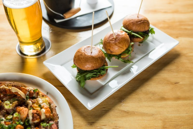 Sliders, pizza and beer