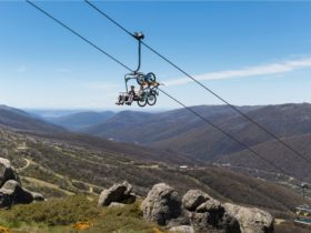 Mountain bikers taking a chairlift to the top of the Thredbo Valley Track