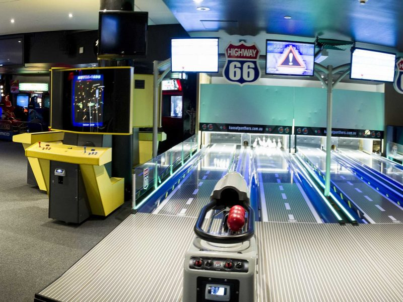 Bowling games lanes and arcade games beside