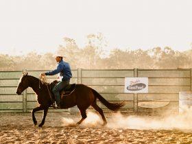 Tom Curtain on a horse