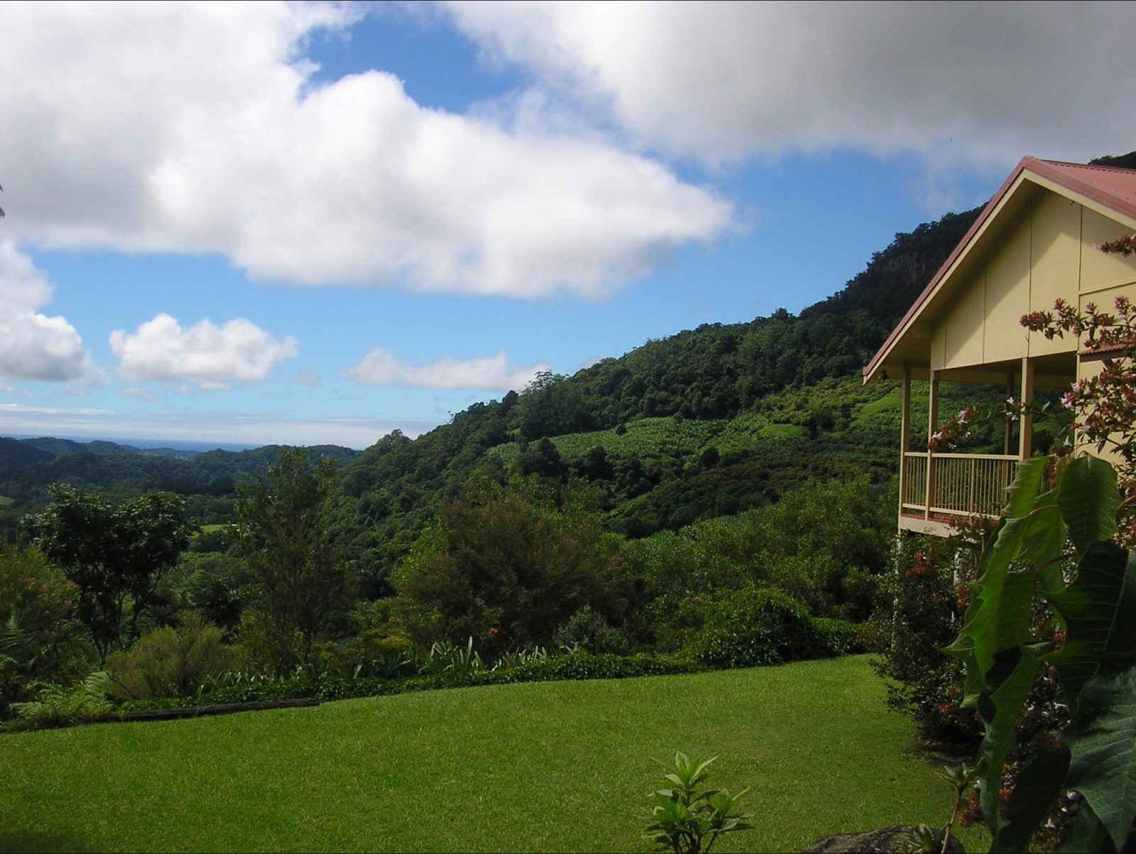Valley views from lawn and verandah of guesthouse