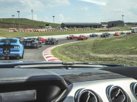 View from drivers seat on racetrack
