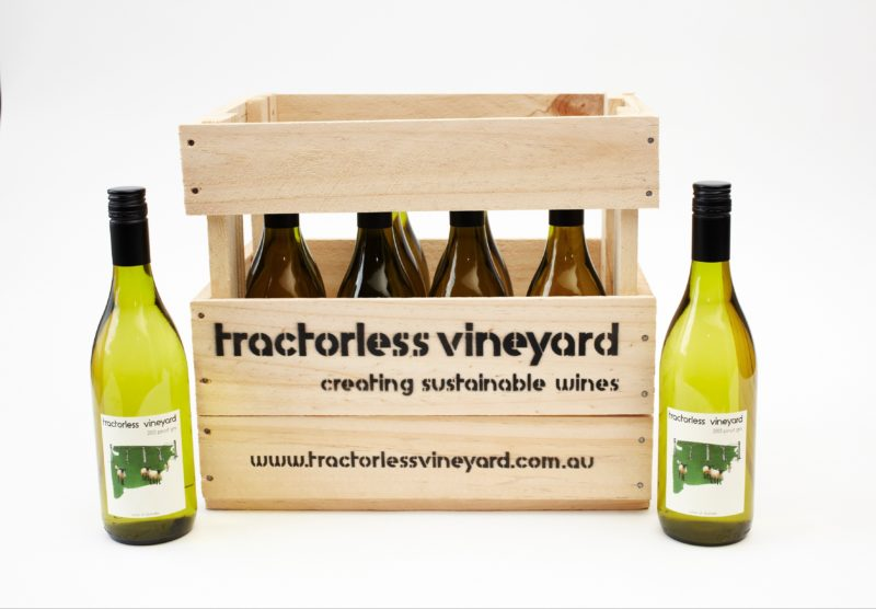 Tractorless recycled timber boxes and sustainably produced Pinot Gris
