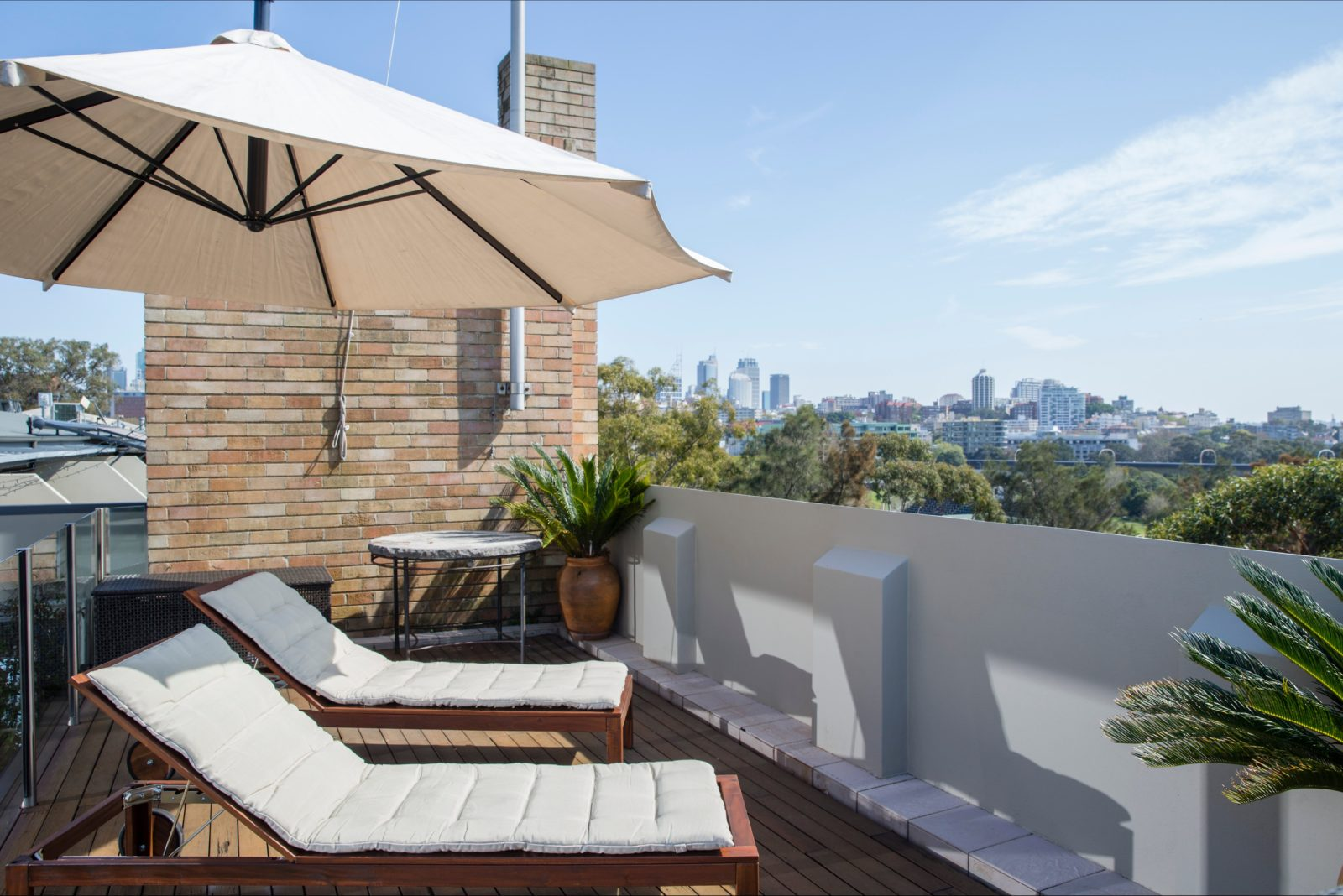 Rooftop terrace with city view