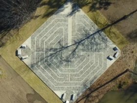 Aerial shot of Tumut Labyrinth, in Pioneer Park, Tumut, Snowy Valleys, NSW