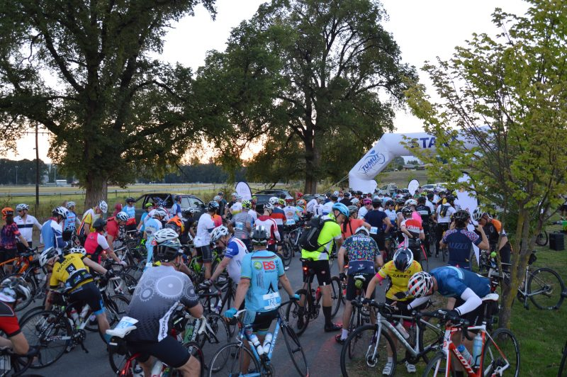 A group of riders at the start of the 2019 Tumut Cycle Classic, Snowy Valleys NSW