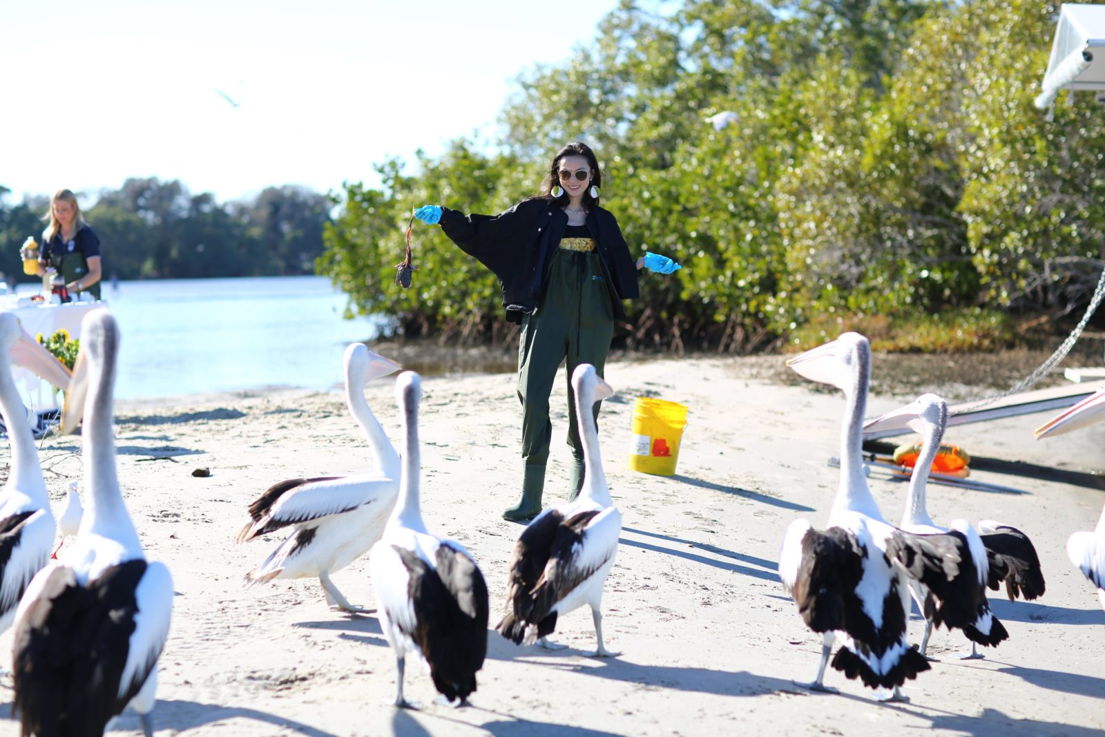 Victoria Secret model Xiowen the pelican whisperer