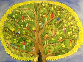 Musical Family Tree painting, children sitting in tree