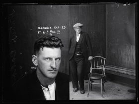 Mugshot of A Caddy and image of A Caddy standing next to a chair