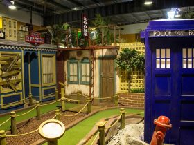 Mini golf course with Tardis in view