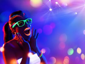 Woman at UV Dance Party