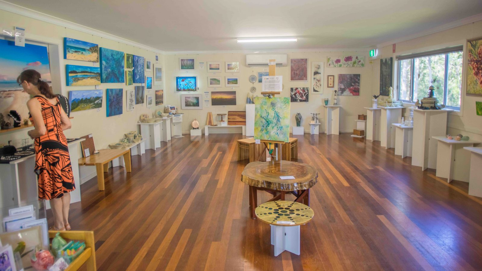 Display of all the artists work from pottery to painting woodwork to photography and lovely jewlry