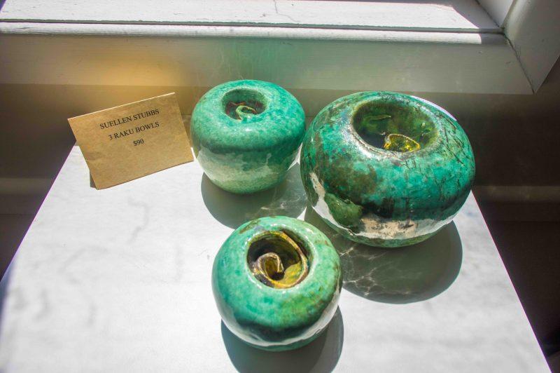 Sea urchin pottery in green glaze by Lyn Walsh