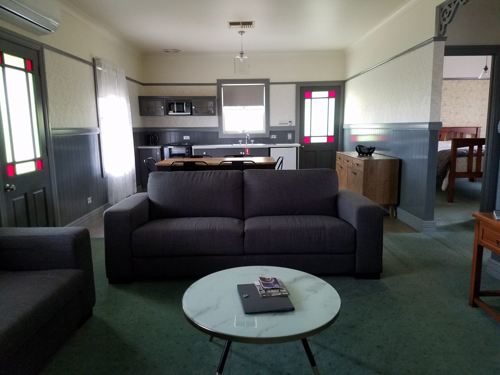 Lounge room and kitchenette