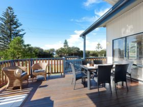 Cabin deck at Werri Beach Holiday Park