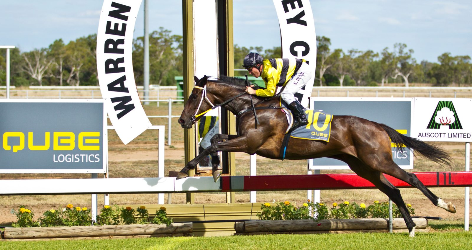 Crossing the finish line at the Warren Racecourse