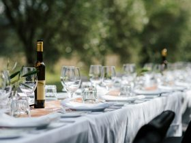 Gorgeous alfresco dining amongst the olive grove