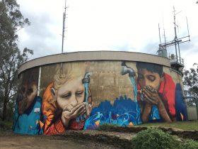 Mural on Water Tower in Wagga Wagga