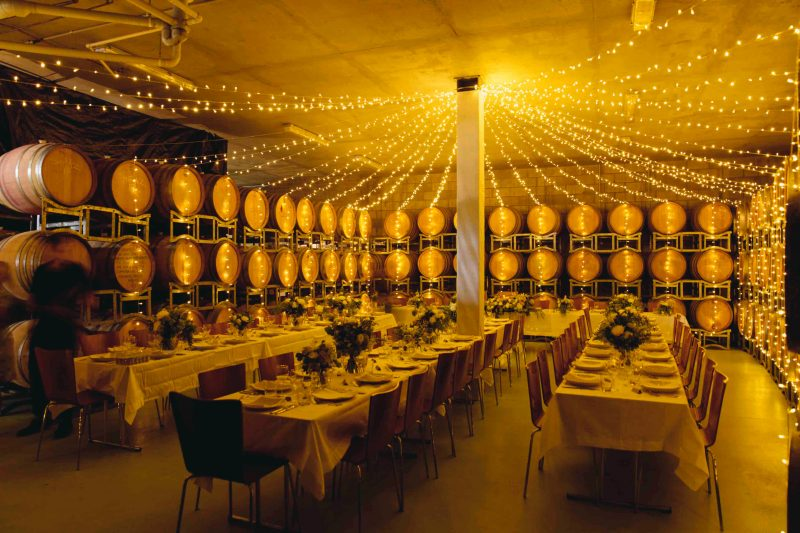 We'll start in the Barrel room with canapés and sparkling