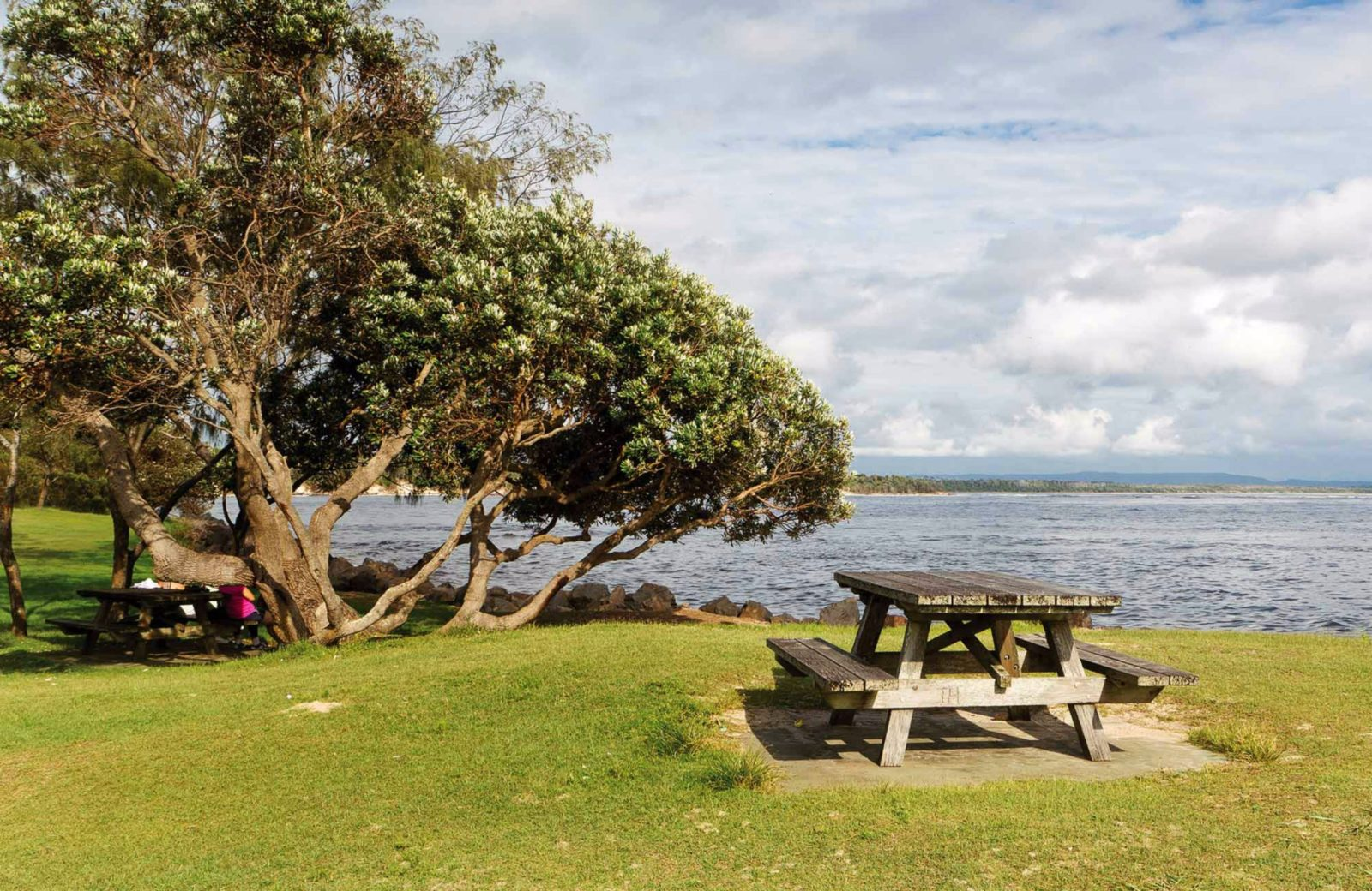 Picnic table overlooking the water. Photo: Rob Cleary