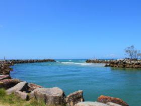 The narrow seaway where the Wooli Wooli river meets the sea.