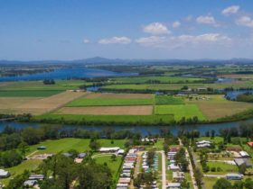 Aerial view over Woombah looking towards Goodwood Island