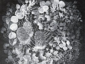 Botanical flowers painted in black and white ink